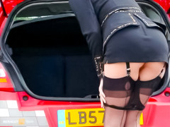 Arousing upskirt on public highway with milf