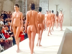 Slim fashion ladies walk the runway naked