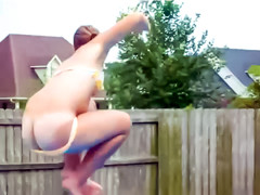 Bikini girl nearly loses swimsuit during cannonball