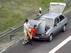 Desperate couple has public sex by broken down car