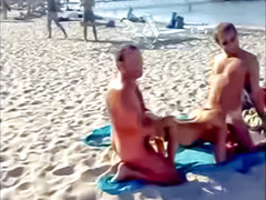 Public beach spit roast of sexy blonde
