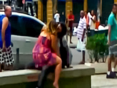 Heavy fooling around with couple in public