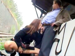 Naughty old-young porn play in public
