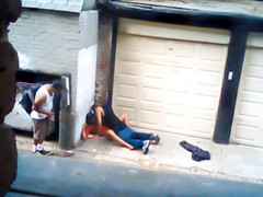 Nasty black hooker fucked in an alley