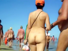 Naked bodies in nude beach voyeur video