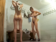 Hidden camera female locker room video with teen cuties