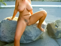 Curvy cowgirl takes a piss outdoors