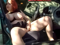 Fat redhead fucked by two guys outdoors